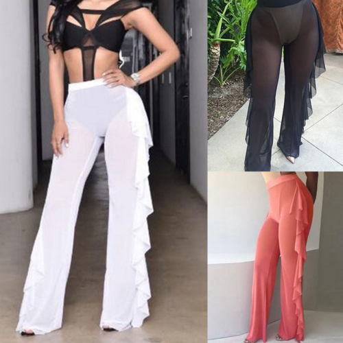 Sexy Womens Mesh Ruffles Sheer   Wide     Leg     Pants   Long Trousers Bikini Cover Up