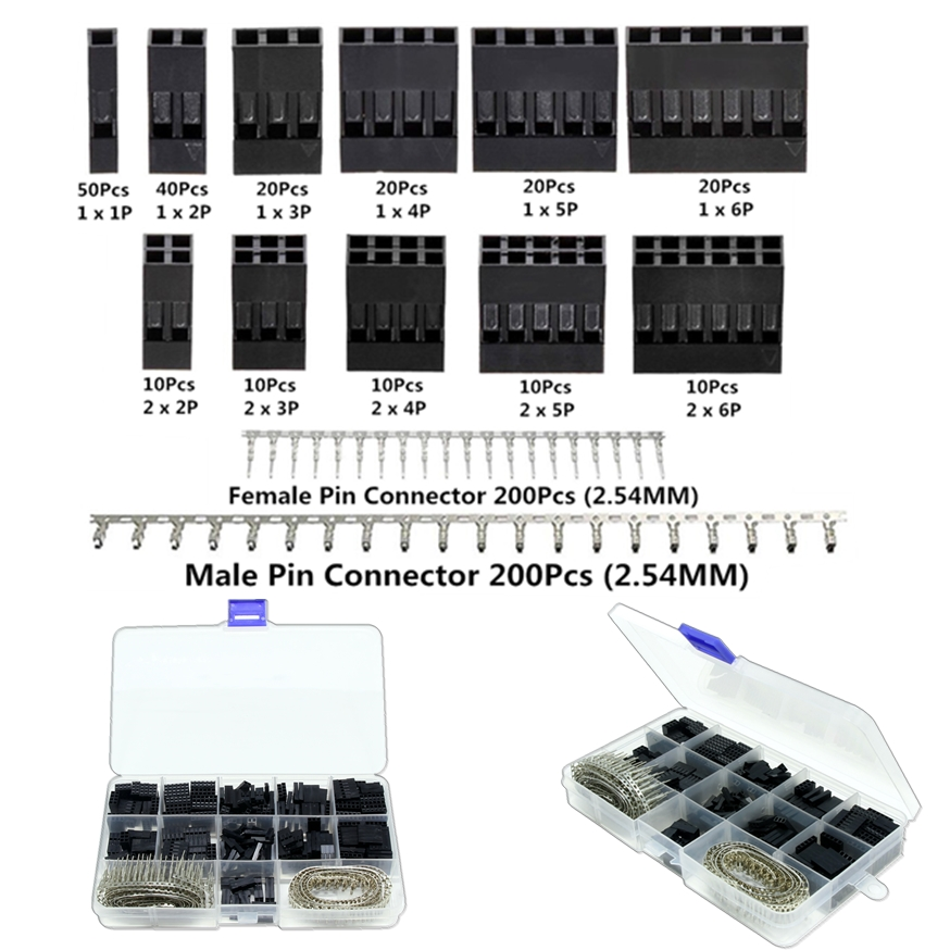 uxcell 65pcs Plastic 6 Terminal Male Female JST-SM Housing for Battery Connector