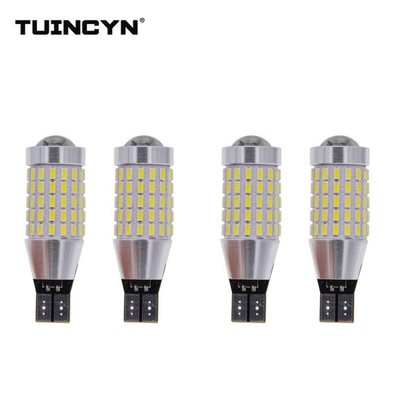 TUINCYN 4pcs LED Signal Light T15 White 3014 SMD 87 x High Power 12/24V Lens Turn Signal Back Up Reverse Tail Brake LED Light