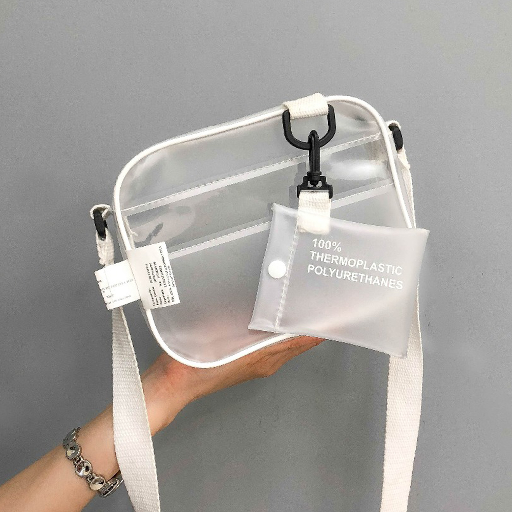 Fashion Transparent Clear Women Small Shoulder Bag Female Durable Waterproof PVC Crossbody Bag Pretty Style Girl's Phone Bag Sac