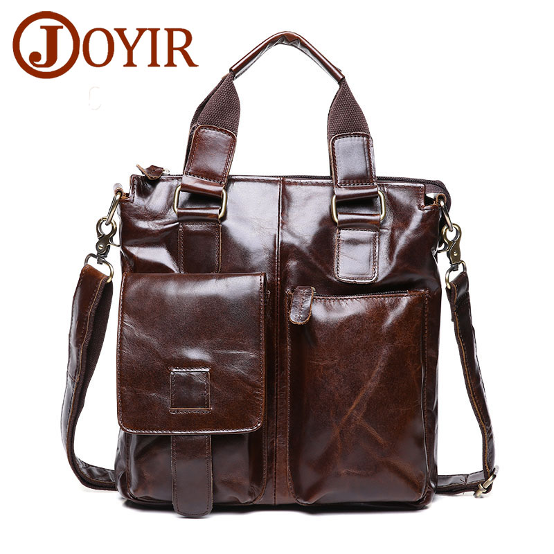 Famous Fashion 100% Genuine Leather Men Briefcase Shoulder Tote Messenger Bags Men Business Laptop Handbag Male Crossbody Bag