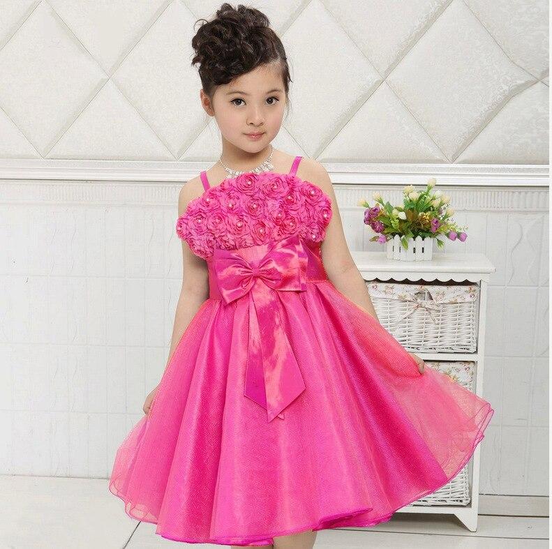 Verano Niñas partido pétalo de rosa princesa vestido 3 12 años niños ...