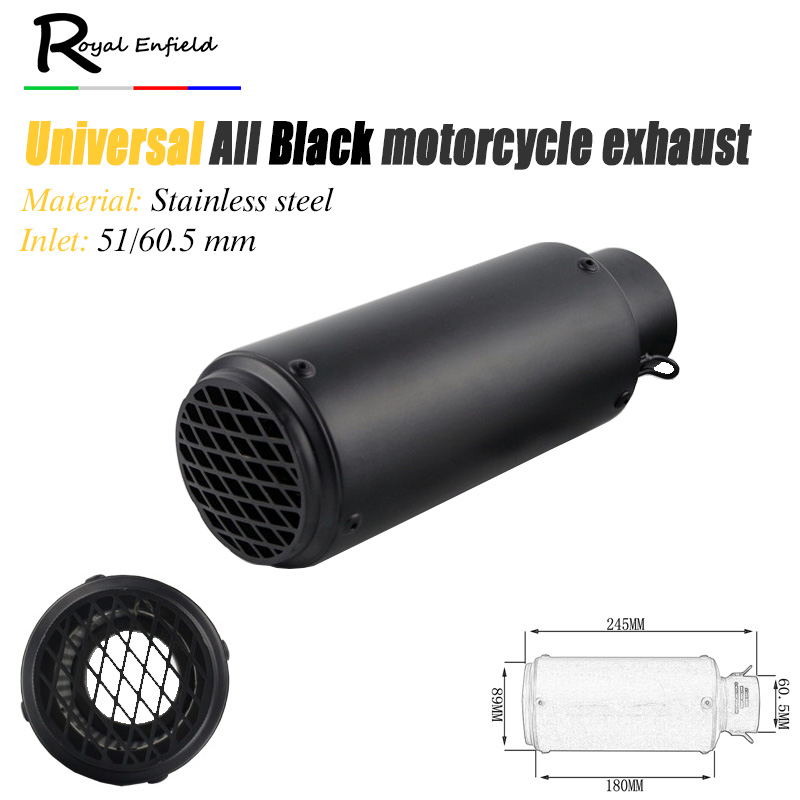 51mm Universal modified Motorcycle exhaust pipe all black color motorcycle pipe muffler with mesh z750 CBR10000 z1000 Z80 crf230