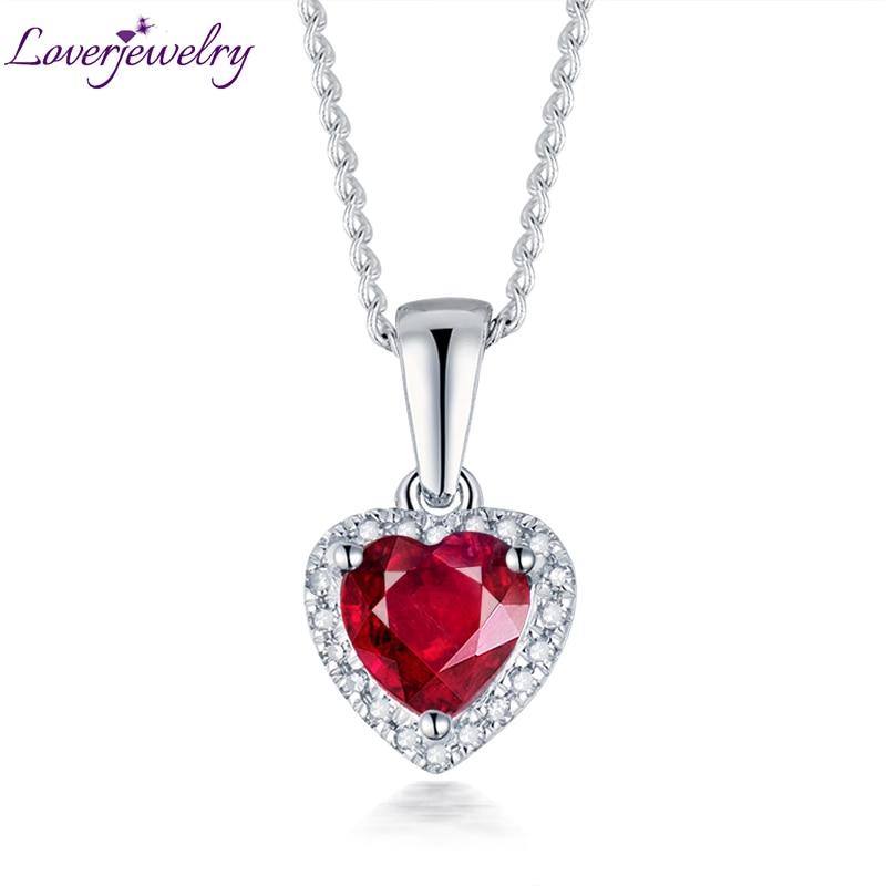 Pendentif coeur Solide 14 k Blanc Or Diamant Rubis Femelle Pendentif Collier Sans Chaîne Pour Petite Amie Anniversaire Bijoux Cadeau