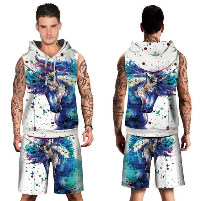 2018 MIDUO summer hoody Vest Shorts Beachwear BLUE unicorn Men Suit 3D Print Sleeveless Shorts PANTS VEST Clothing Set plus size