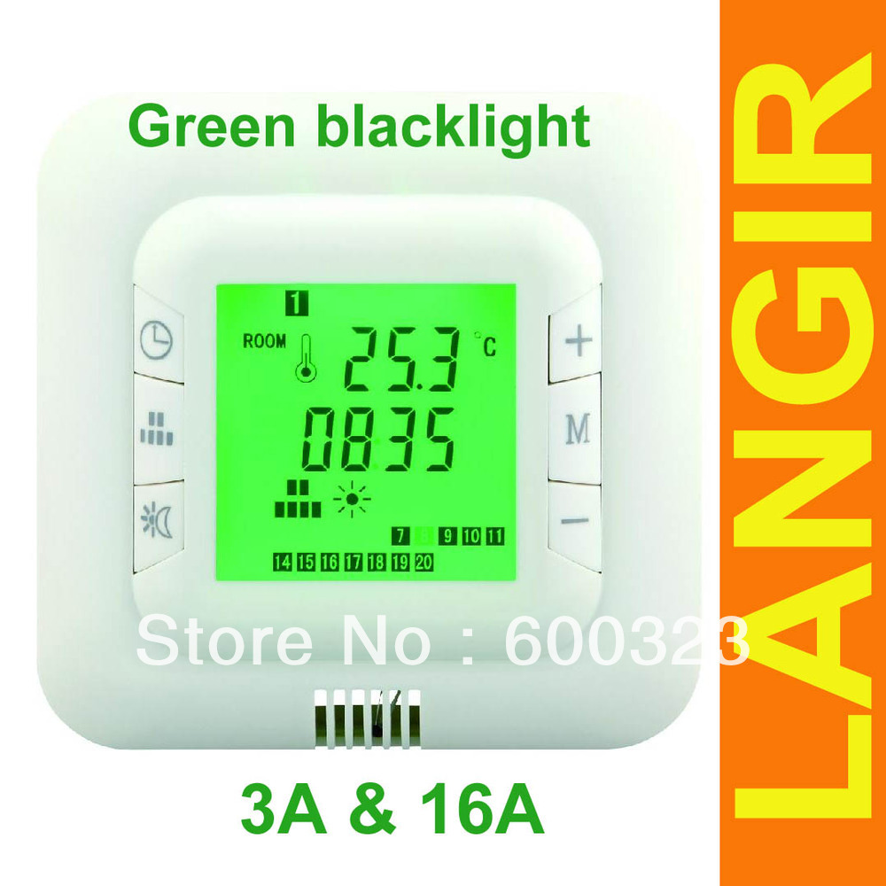 Digital underfloor Heating Thermostat weekly programmable with backlight green 16A +FREE shipping