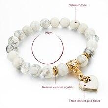 Heart Charm Natural Stone Bracelet (7 colors)