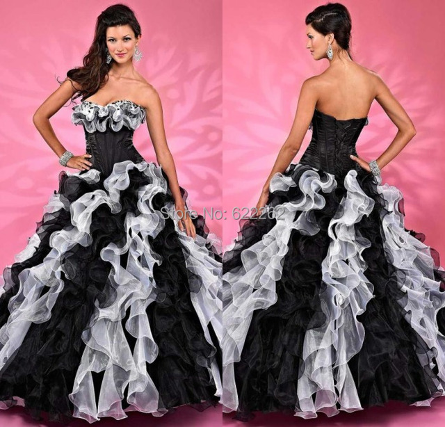 Beautiful Ball Gown Strapless Sweep Train White And Black Ruffles ...