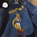 2016 harajuku vintage retro estilo bonito de kawaii fazer o velho Marinheiro desenhos animados Da Lua bordado jaqueta jeans mulheres e homens jean jaqueta