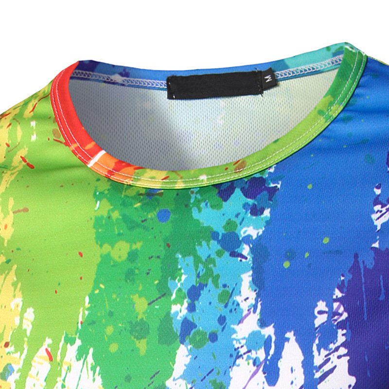 face6c6b496348 Fashion Splashed Paint Rainbow tshirt Color Design Printing Hot Selling  Men's Leisure Long sleeved Round Neck T shirt ALV198-in T-Shirts from Men's  Clothing ...