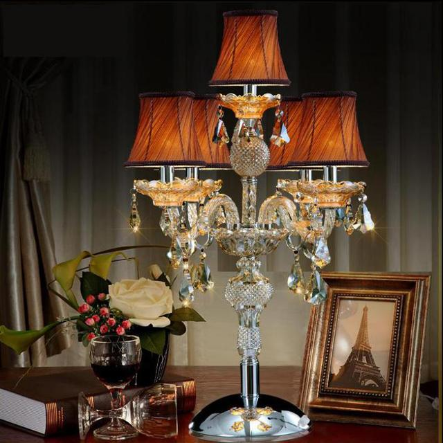 Free shipping large wedding candelabra lamp crystal table lamp with lampshade led desk Lamp big candle holder hotel table light