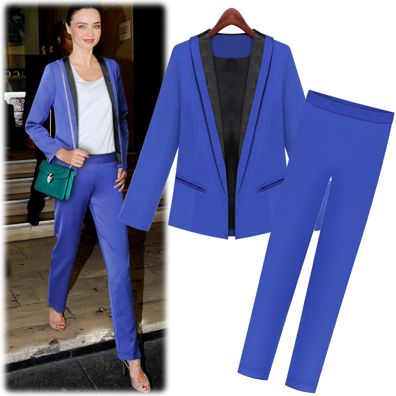New spring autumn women's pant suits fashion Slim Pure color Small ...