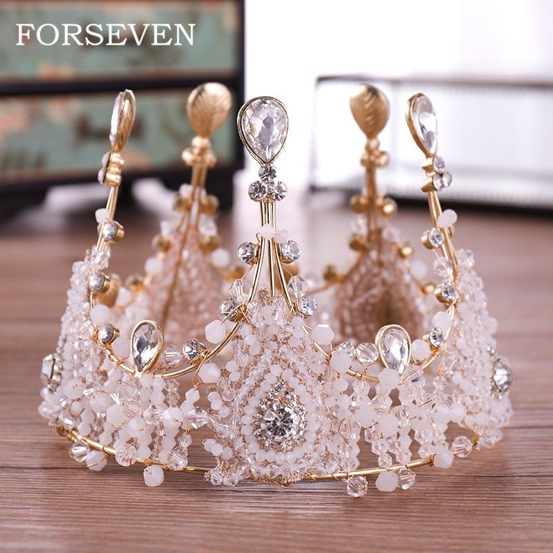 Crystal Queen Diadem Round Big Crown Bride Headdress Luxurious Princess Bride Crystal Wedding Crown Diadem Gold Tiaras недорого