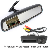Rearview Vehicle Camera Car Rear Camera For Audi A4 VW Passat Tiguan Golf Touareg With Car Rear View Bracket Mirror Monitor