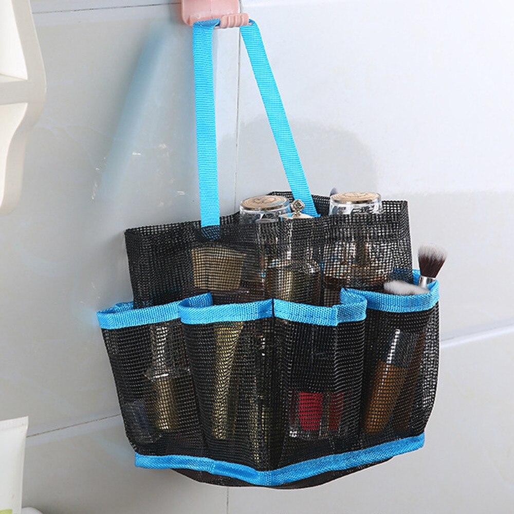 8 Basket Pockets Muti _Function Mesh Shower Caddy Tote Wash Bag Dorm ...
