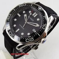 41mm bliger black dial luminous marks deployment clasp sapphire glass date automatic mens watch 221