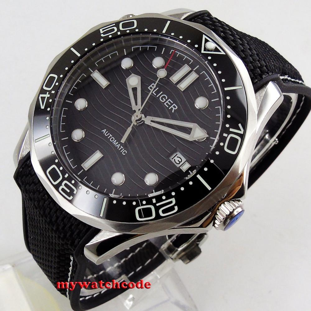 41mm bliger czarna tarcza świecące znaki zapięcie szkła szafirowego data automatyczny męski zegarek 221 w Zegarki mechaniczne od Zegarki na  Grupa 1