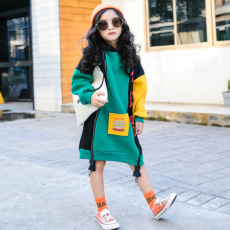 New Hit color Cotton Winter Warm Sweatshirts for Girls Plus Velvet Teenager Girls hoodies Thicken kids T-shirt children clothing