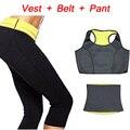 (Calça + colete + cinto) venda quente conjuntos de roupas de super trecho de neoprene shapers emagrecimento calças calças de cintura das mulheres trainer cinturão body