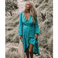 Boho Chic Summer Vintage Floral Print Crossover Dress Women 2018 Fashion V Neck Lantern Sleeve Slit Beach Dresses Vestidos Mujer