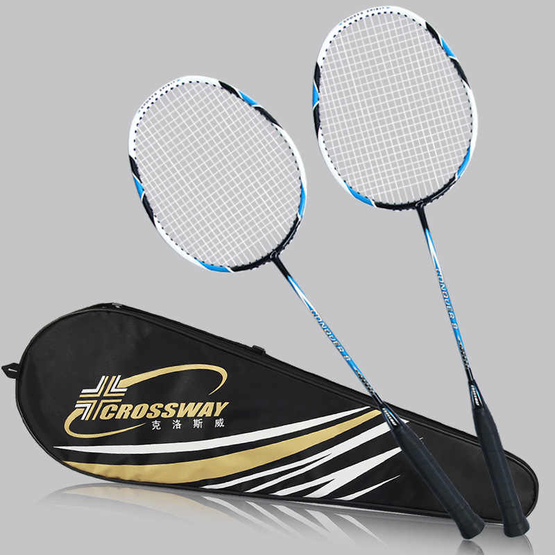 CROSSWAY 2 Pcs Carbon Badminton Rackets Set Double Game International Badminton rackets Equipment Ball Racquet Beat With Bag