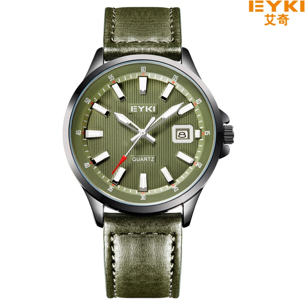 EYKI Russian Style Military Watch Sport Quartz Calendar Green Men Waterproof Leather Strap Casual Wristwatch montre femme