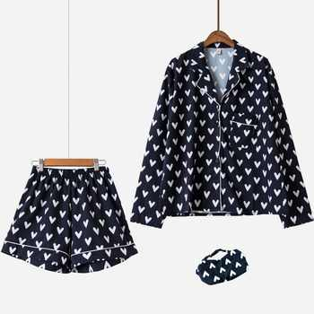New Pajama Sets Women Loving Heart Print 3 Pieces Set Long Sleeve Top + Shorts Elastic Waist + Blinder Loose Sleep Wear S75603 - DISCOUNT ITEM  0% OFF All Category
