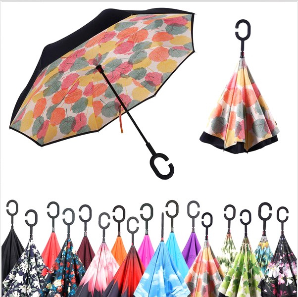 Windproof Reverse Folding Double Layer Inverted Umbrella Self Stand umbrella rain/sun women/men high quality 2016 flower durable
