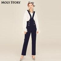 Super! Vintage Ladies Button Overalls Women Romper Wide Leg Jumpsuit for Women Loose Pants Navy Trousers Salopette Femme