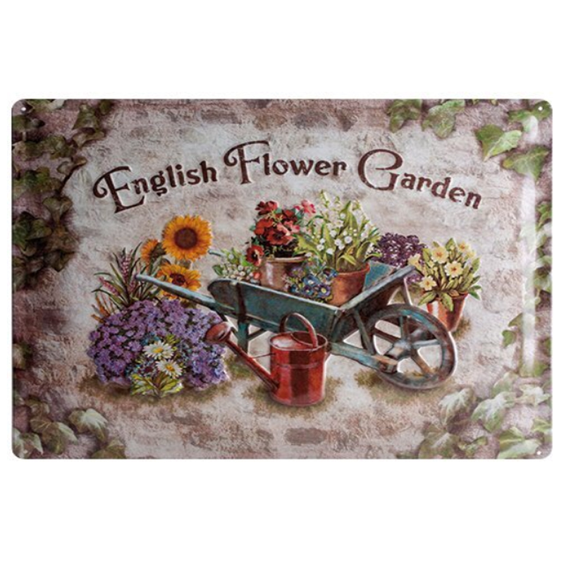 ZJY Vintage Home Decorservice English Flower Garden Metal Tin Signs Tavern Shabby Chic Home Shop Retro Art Poster Plaque Decor