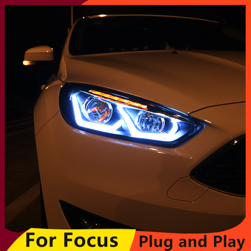 Image 2 - KOWELL Car Styling for Ford focus Headlights 2015 2016 2017 for focus Headlight DRL Lens Double Beam H7 HID Xenon bi xenon lens-in Car Light Assembly from Automobiles & Motorcycles