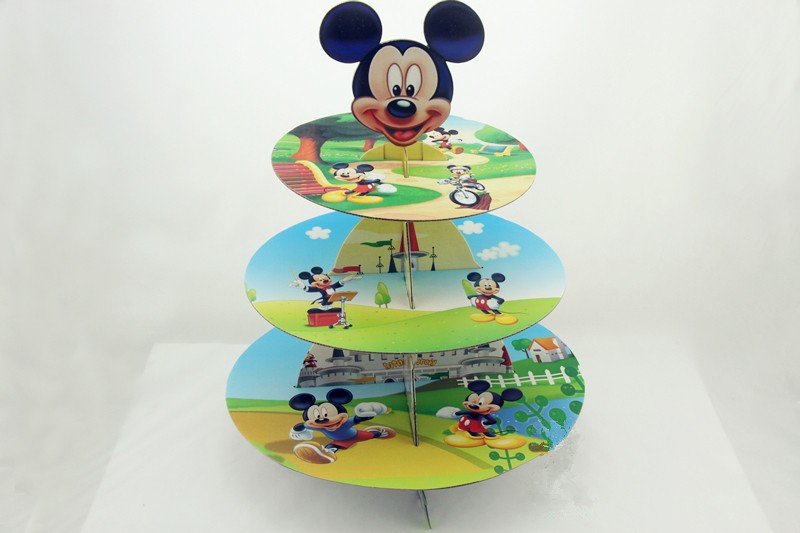 Free Shipping Micky Mouse Cupcake Stand Cartoon Cake Dessert Stands Baby Boy Girl Kids Birthday Party