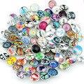 50 unids/lote Mezclar Estilos Colores Snap Botones Charms 18mm de Impresión de Vidrio Cabochon Apta DIY Snap Pulseras y Brazaletes de La Joyería ZM025