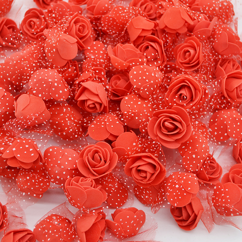 50Pcs/lot 3.5cm Mini PE Foam Rose Heads Artificial Silk Flowers For Home Garden DIY Pompom Wreaths Wedding Decor Supplies(China)