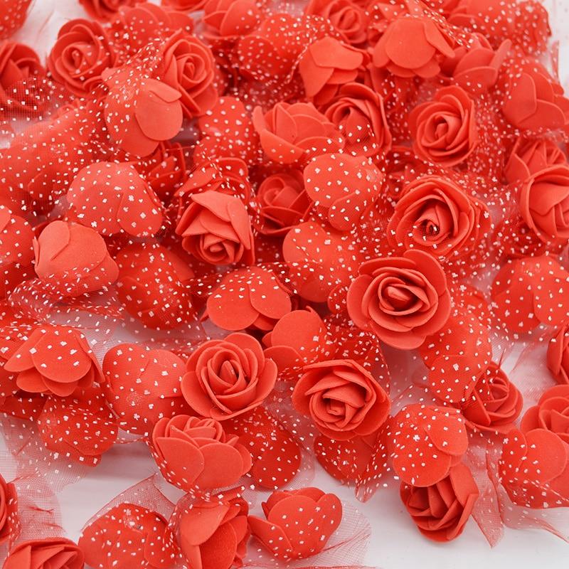 50 шт./лот см 3,5 см мини PE поролоновые головки роз искусственный шелк цветы для домашний сад DIY помпон венки свадебный Декор поставки
