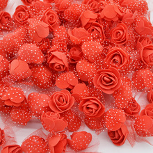50Pcs lot 3 5cm Mini PE Foam Rose Heads font b Artificial b font Silk Flowers