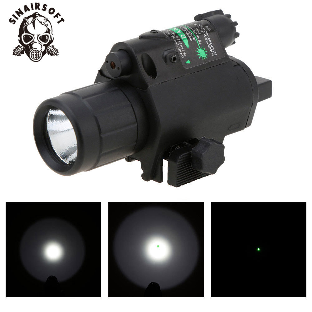 SINAIRSOFT 2 In 1 Airsoft Hunting M6 CREE LED Torch 200LM Sight Tactical Combo/Light Green Laser Flashlight W/Tail Switch