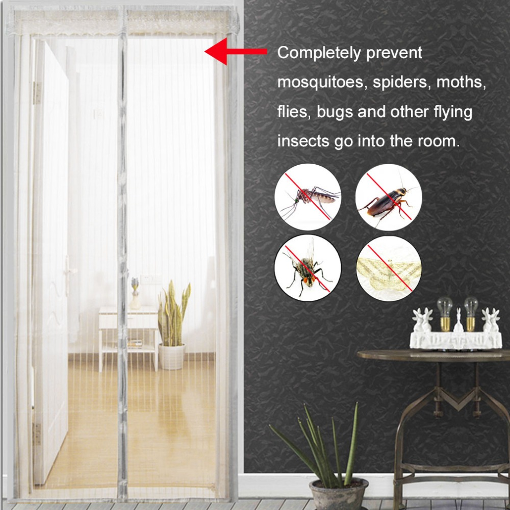 Heavy Duty Magic Tape mesh Curtain Screen Hands Free Bugs Off Door Screen with Magnets-A 150x200cm Embroidery Reinforced Magnetic Fly Screen Door 59x79inch
