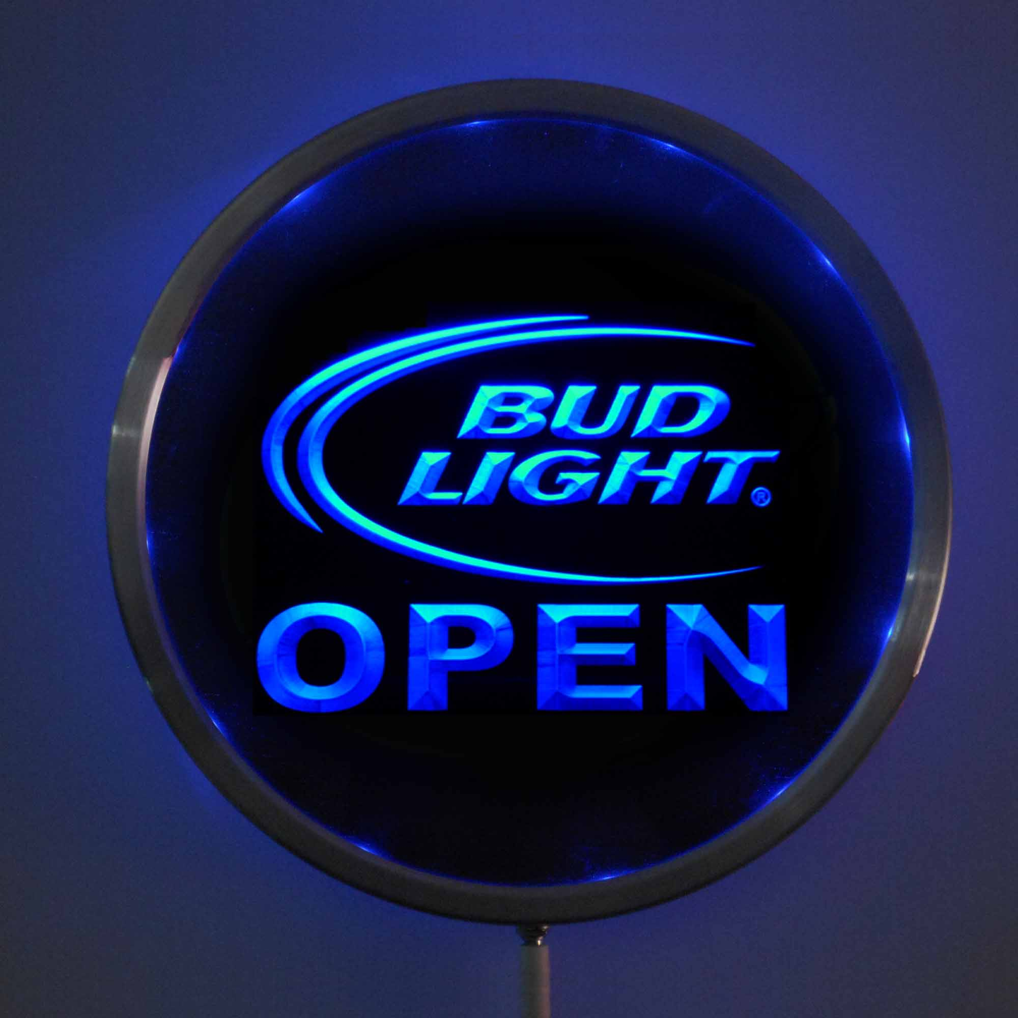 rs-0025 Bud <font><b>Light</b></font> OPEN LED Neon Round Signs 25cm/ 10 Inch - Bar Sign with RGB Multi-Color Remote Wireless Control Function