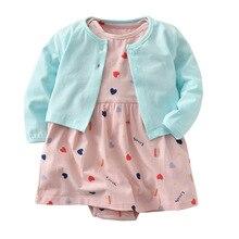 HI&JUBER Baby Girls Romper Dress Set Cotton Spring Girl Infants Cardigan Jacket Long sleeve Jumpsuit Skirt 2pcs Suit