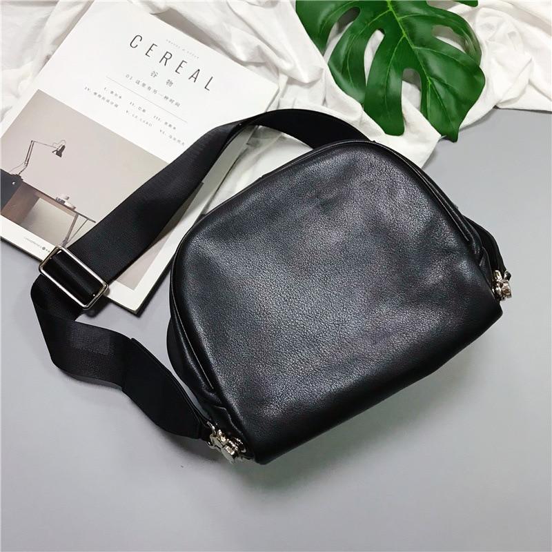 От H новое поступление коровья Большая вместительная нагрудная сумка для женщин и мужчин из натуральной кожи Регулируемый ремень большие сумки на молнии - 2