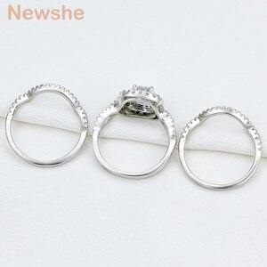 Image 4 - Newshe 3 adet 925 ayar gümüş alyanslar kadınlar için 2.1Ct AAA CZ nişan yüzüğü seti klasik takı boyutu 5 12