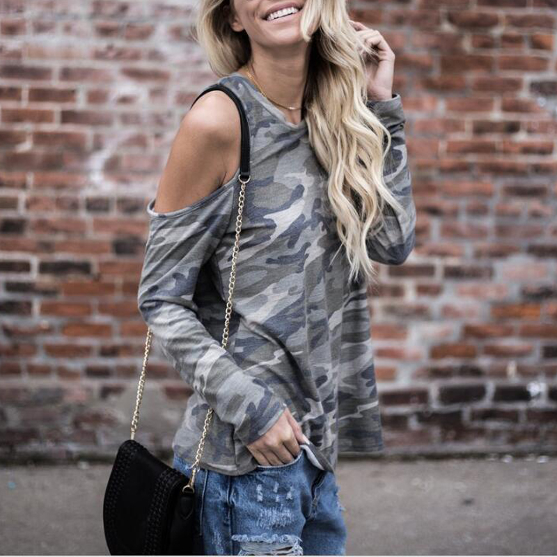 2018 New Arrivals Military Gray Green Off The Shoulder Tops For Women Tees Womans Fashion 2018 Summer Cool Women Clothing