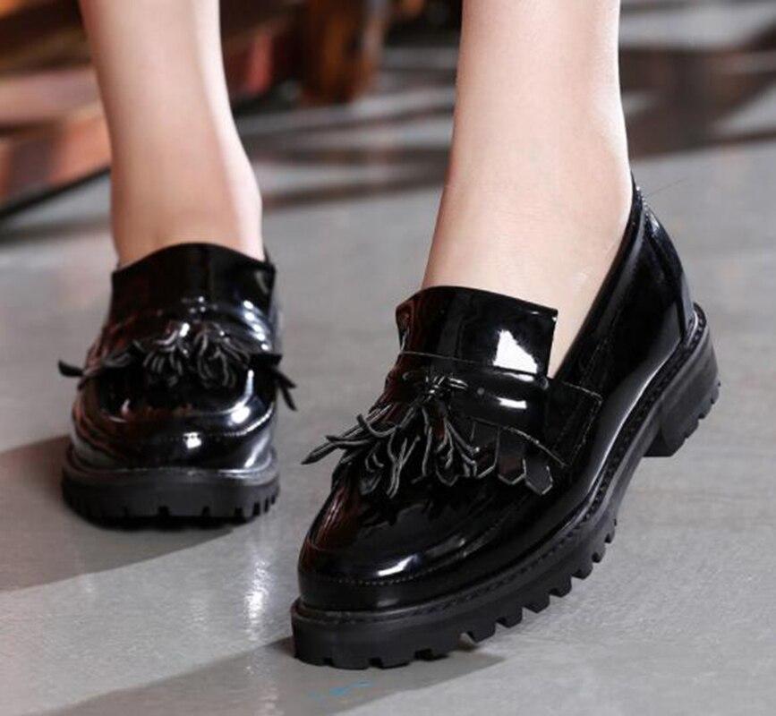 Cuir Muffin Britannique Simples Black Fond En red Chaussures Gland Rétro Femmes De Brock 7bYv6Ifgy