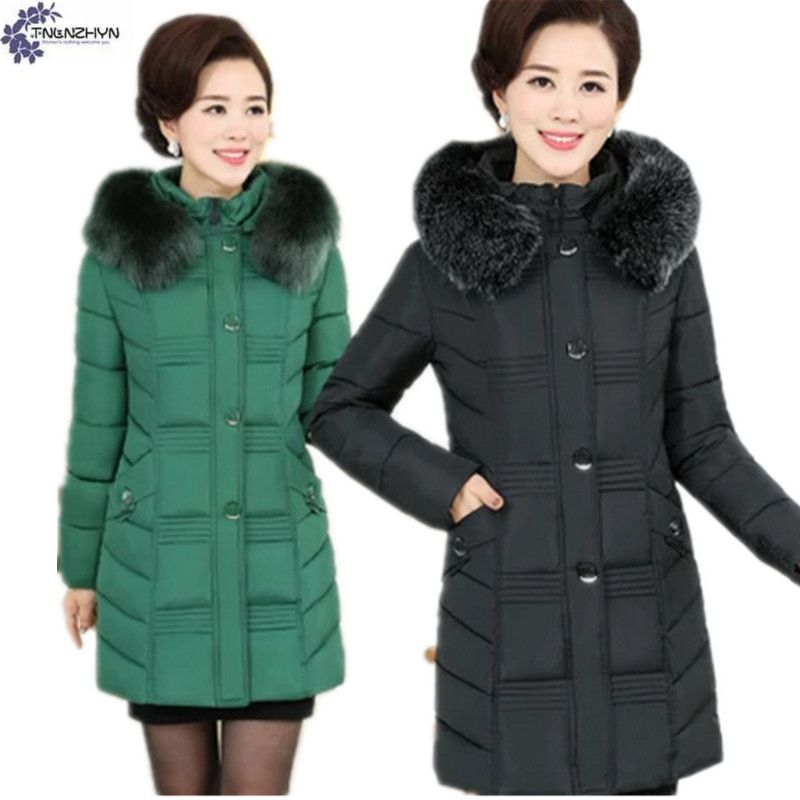 TNLNZHYN Women clothing cotton coat winter NEW fashion thicken warm hooded fur collar large size female cotton Outerwear QQ34