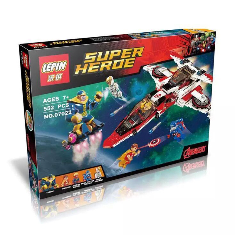ФОТО 552pcs Avenjet Space Mission Captain Marvel Superhero Thanos Hyperion Set Building Lepin 76049 Blocks