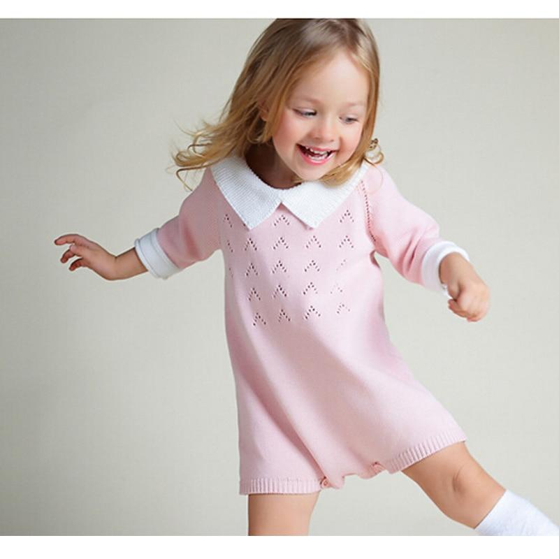 New 2016 Bobo Chose Dress Cotton Knit Crochet Baby Girl Romper Kids Seven Sleeve Jumpsuit Infant New Born Toddler Sweater Dress