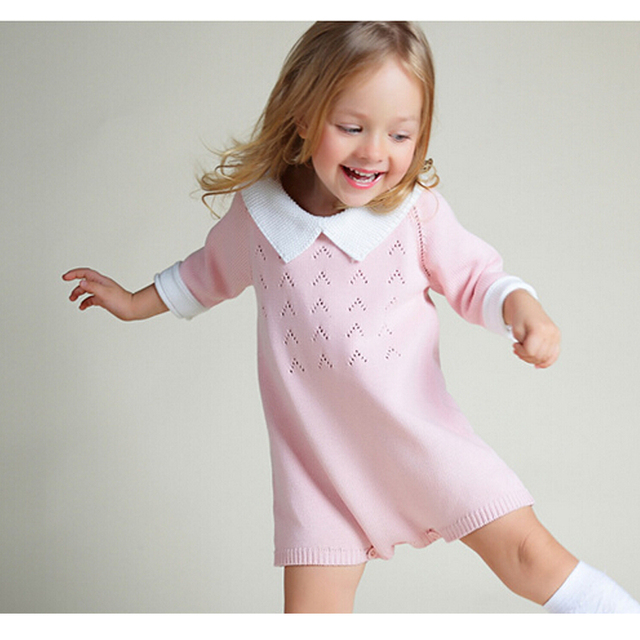 8af076cb2d70 New 2018 Baby Girls Dress Cotton Knit Crochet Baby Girl Romper Kids ...
