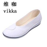 النساء أحذية بيضاء أحذية ممرضة مع منحدر dichotomanthes العمل نهاية مستشفى الجمال الرقص قماش الحجم 34--41
