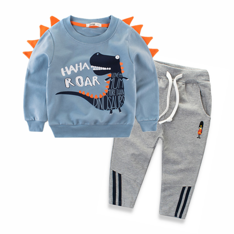 Cotton Children Clothing Set for Boys 2018 Autumn Cartoon Kids Tops and Pants 2pcs Set 2 3 4 5 6 8 9 Years Dinosaur Kids Clothes 2018 autumn children clothing set for boys cotton kids tops and pants 2pcs set tracksuit 2 3 4 5 6 9 years fashion kids clothes